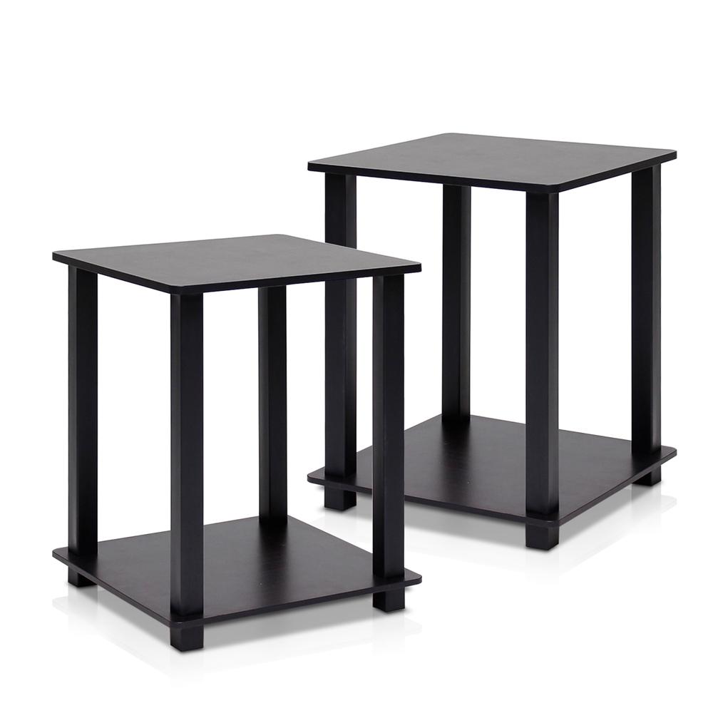 Simplistic End Table, Set of Two, Espresso/Black. Picture 1