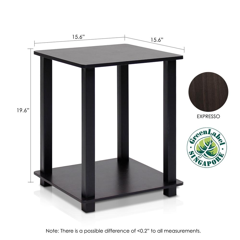 Simplistic End Table, Set of Two, Espresso/Black. Picture 2