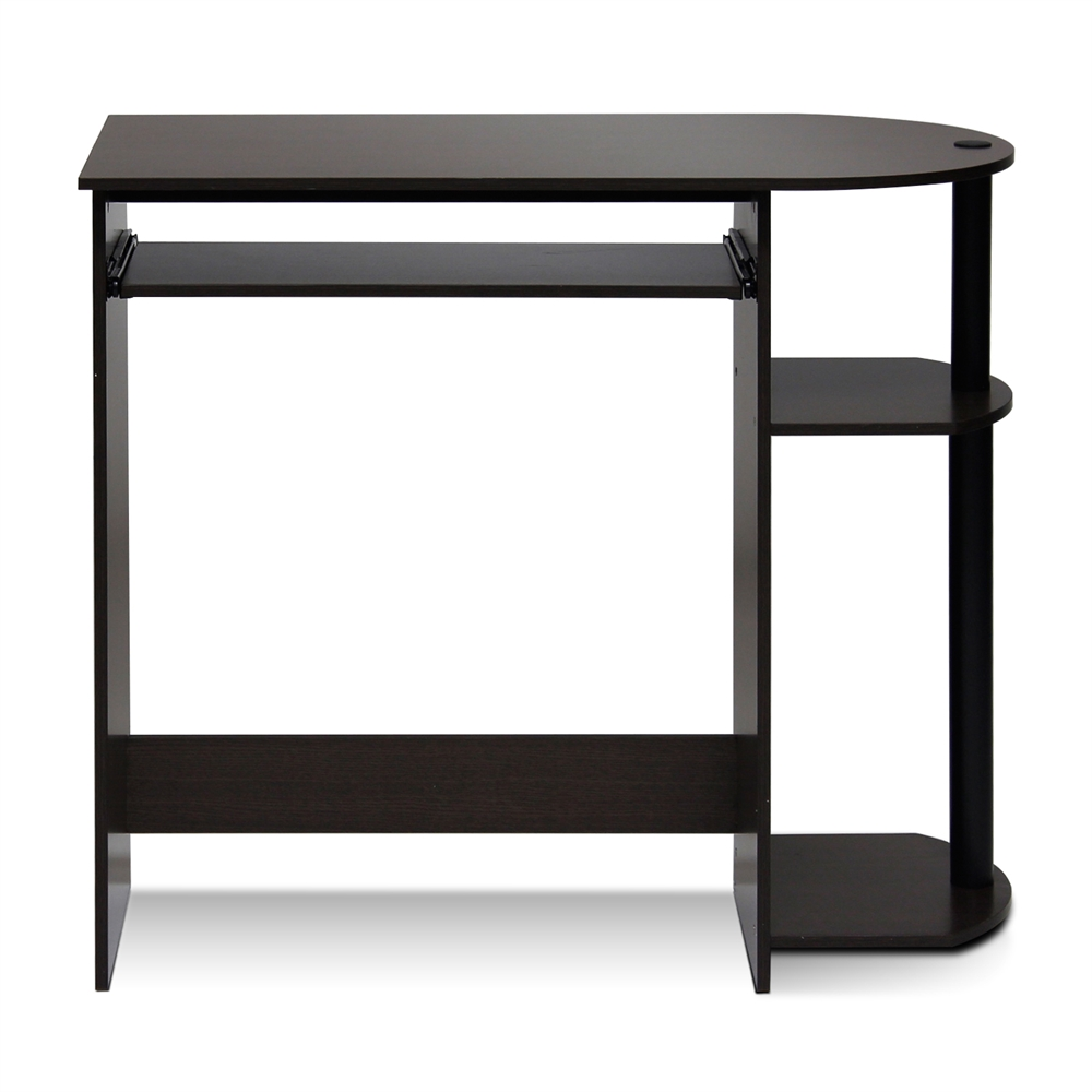 Simplistic Easy Assembly Computer Desk, Dark Brown. Picture 1