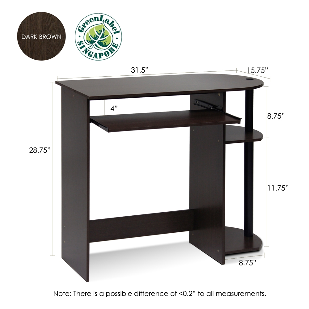 Simplistic Easy Assembly Computer Desk, Dark Brown. Picture 2