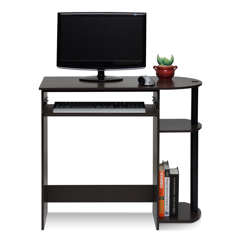 Simplistic Easy Assembly Computer Desk, Dark Brown. Picture 3
