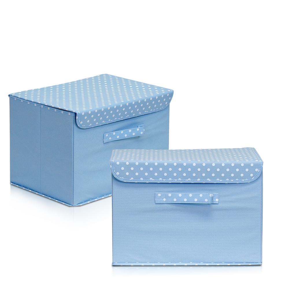 Furinno 2NW13203BL Non-Woven Fabric Soft Storage Organizer with Lid, Set of 2, Blue. Picture 1