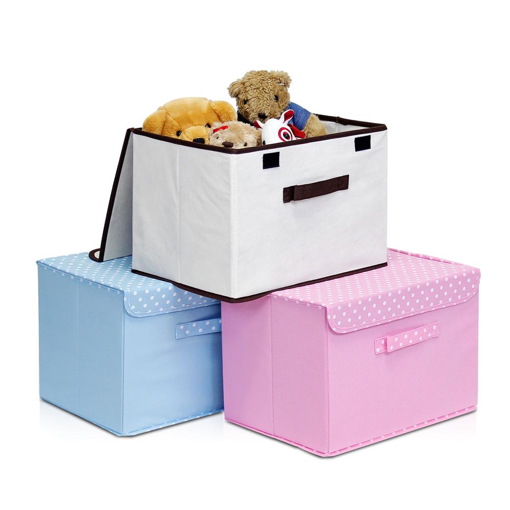 Furinno 2NW13203BL Non-Woven Fabric Soft Storage Organizer with Lid, Set of 2, Blue. Picture 3