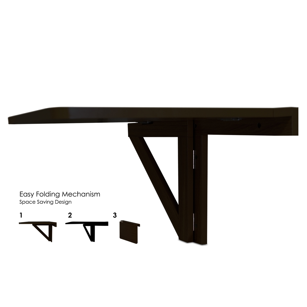Wall-Mounted Drop-Leaf Folding Table, Espresso. Picture 2