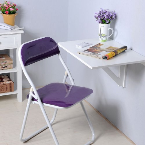 Wall-Mounted Drop-Leaf Folding Table, Espresso. Picture 4