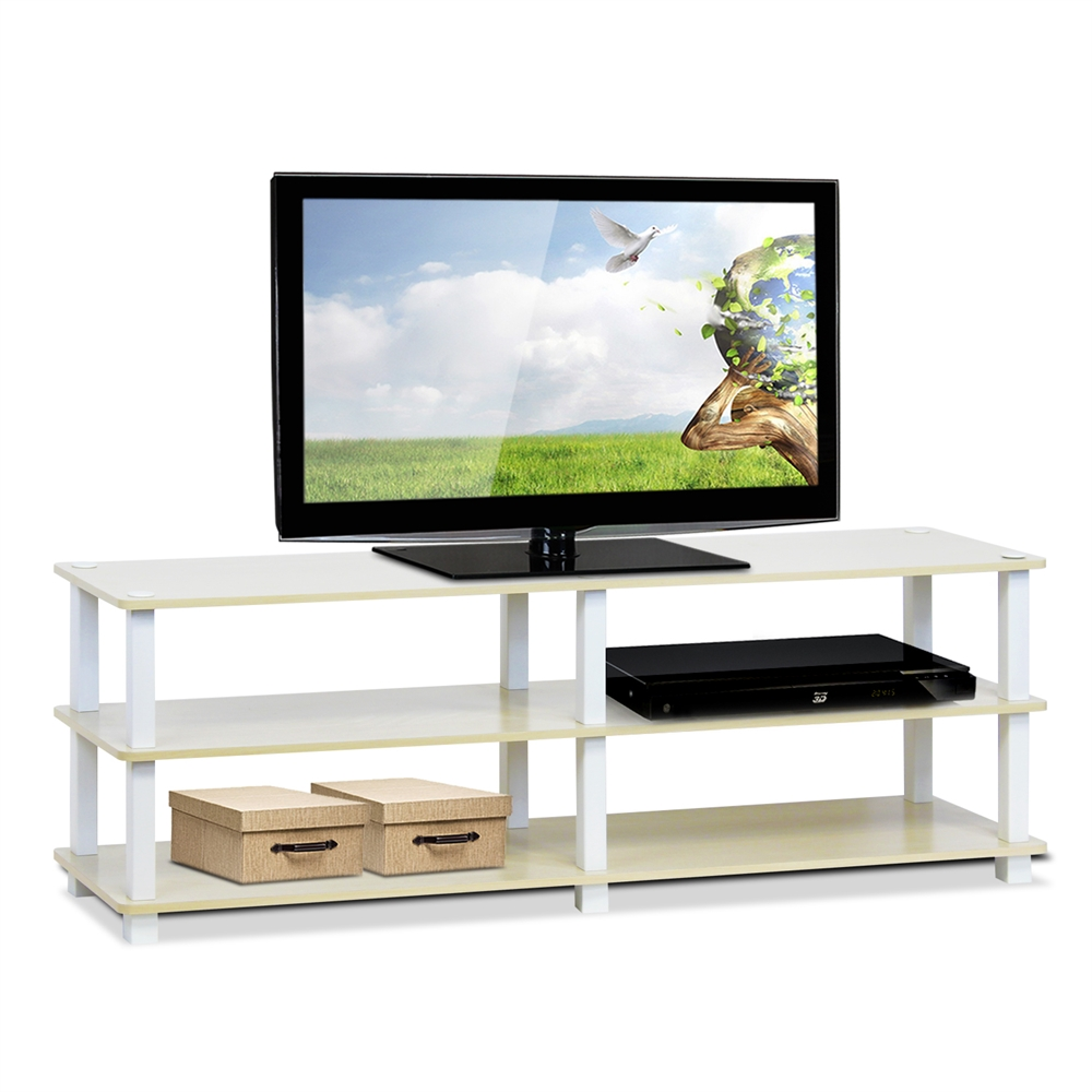 Turn-S-Tube No Tools 3-Tier Entertainment TV Stands, Steam Beech/White. Picture 3