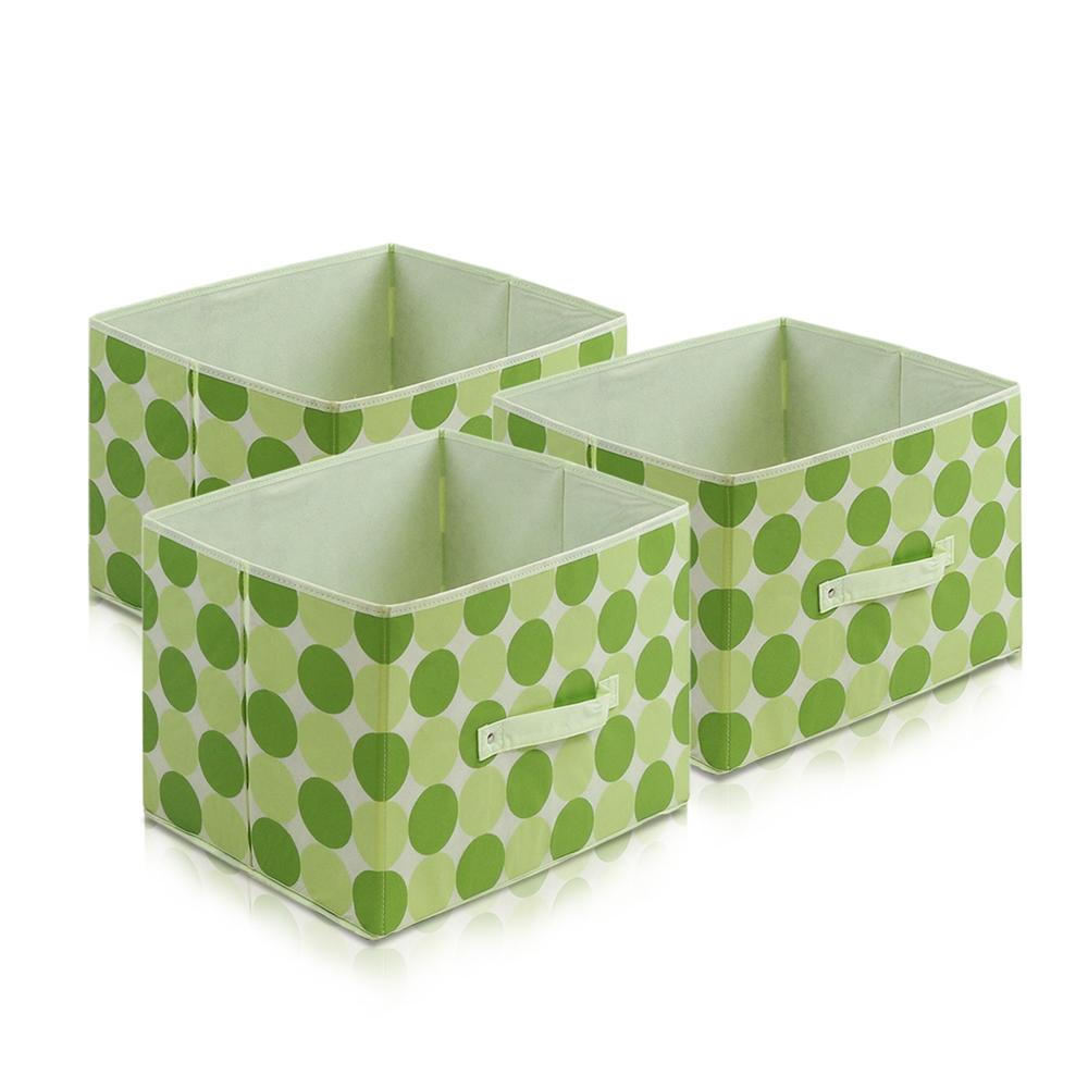 Laci  Dot Design Non-Woven Fabric Soft Storage Organizer, Set of Three, Green. Picture 1