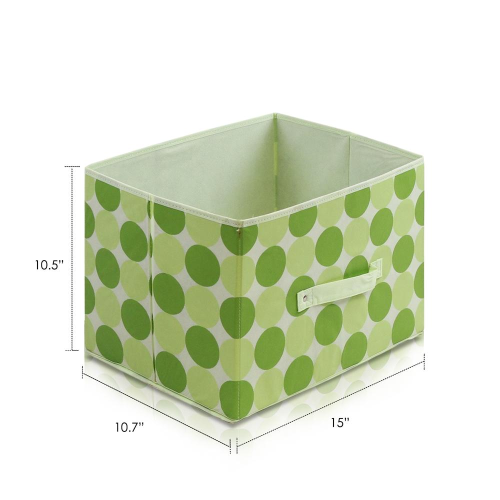Laci  Dot Design Non-Woven Fabric Soft Storage Organizer, Set of Three, Green. Picture 2