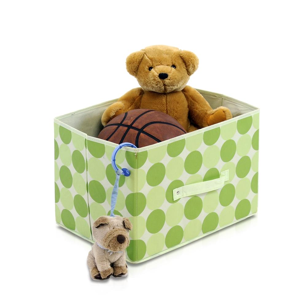Laci  Dot Design Non-Woven Fabric Soft Storage Organizer, Set of Three, Green. Picture 3
