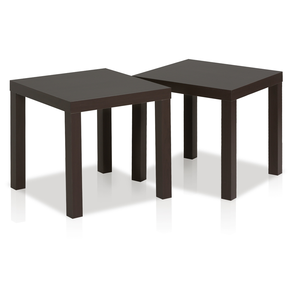 Classic Cubic End Table, Set of Two, Espresso. Picture 1