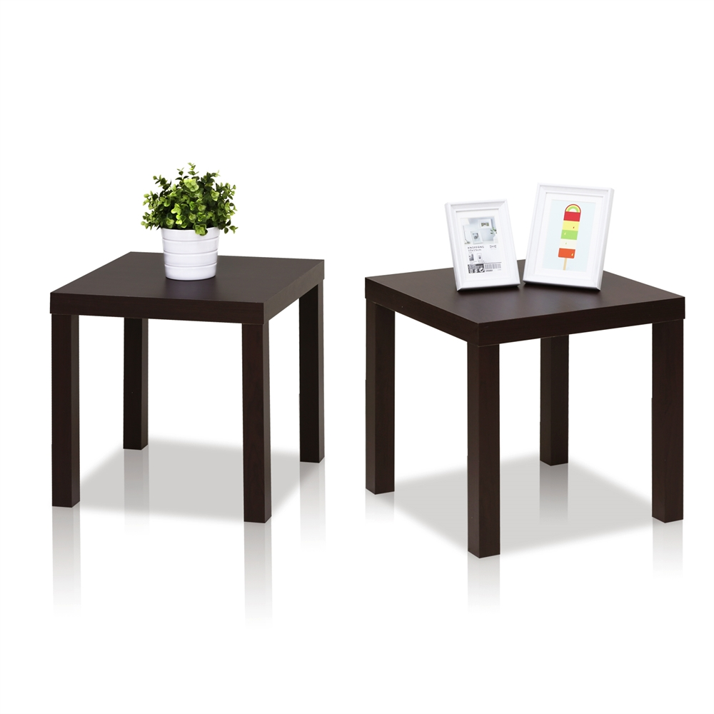 Classic Cubic End Table, Set of Two, Espresso. Picture 3