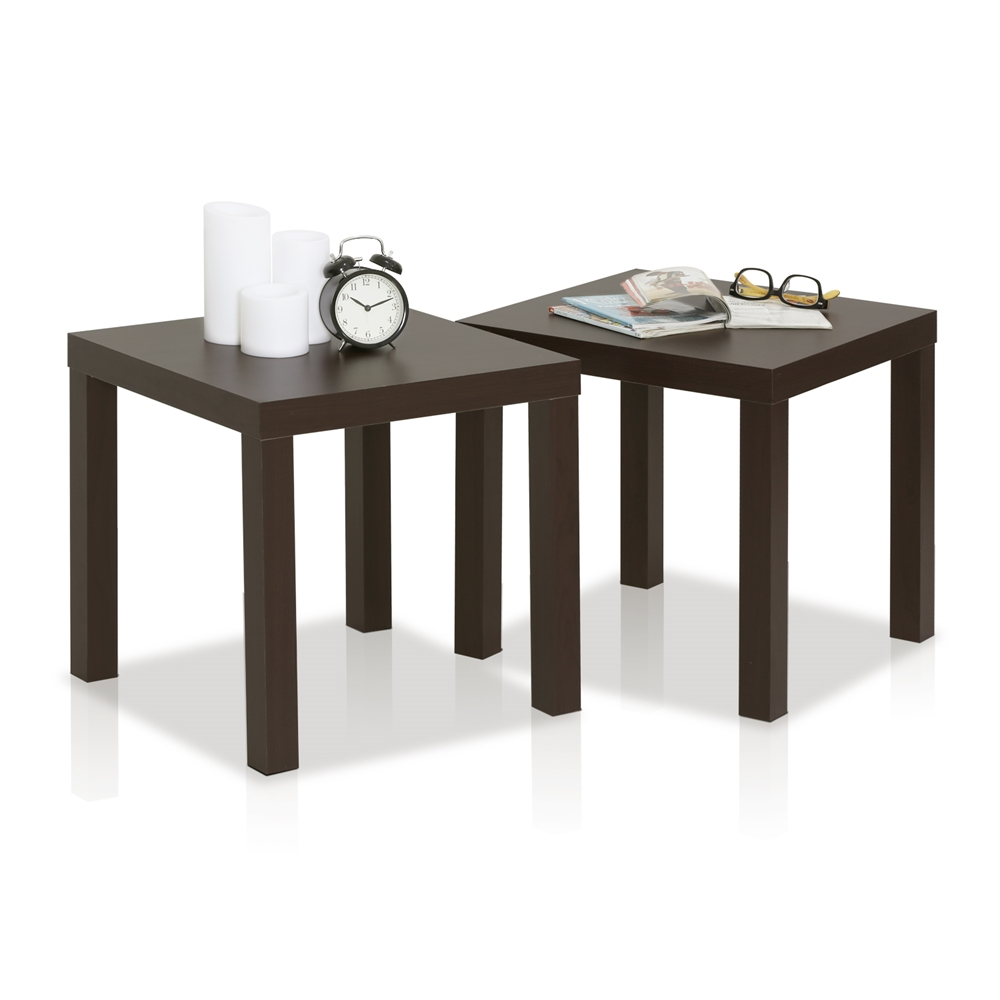 Classic Cubic End Table, Set of Two, Espresso. Picture 4