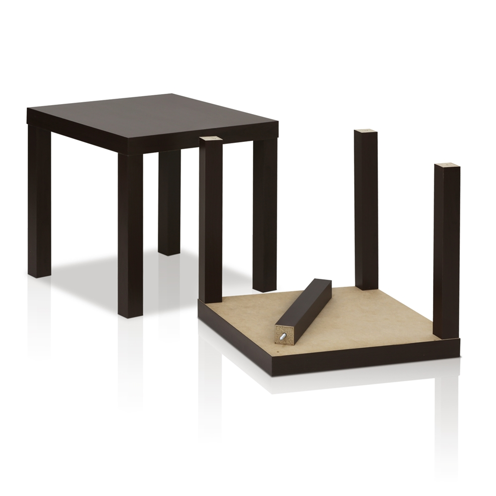 Classic Cubic End Table, Set of Two, Espresso. Picture 5