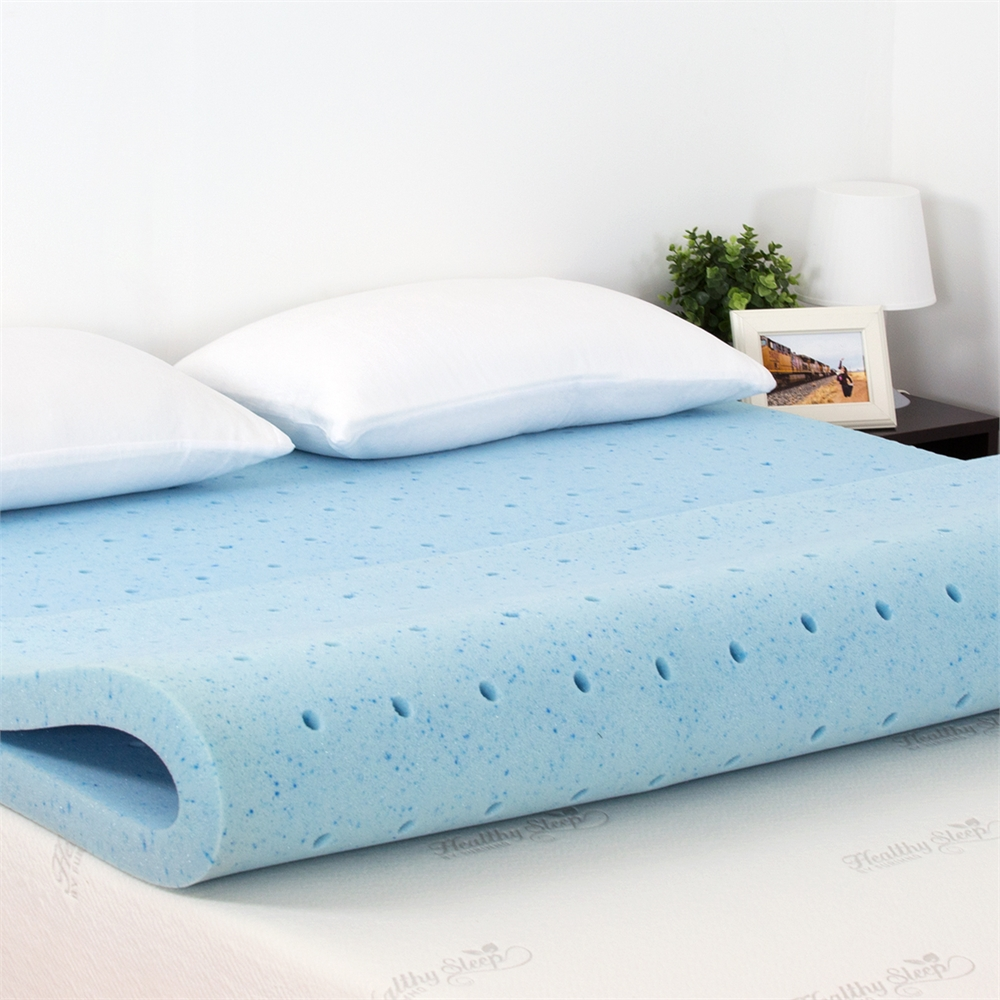 Angeland 2 INCH Cool Gel Ventilated Memory Foam Mattress Topper, TWIN. Picture 4