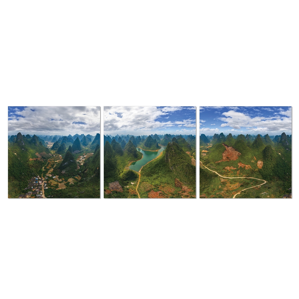 SeniA Finest Under Heaven 3-Panel MDF Framed Photography Triptych Print, 48 x 16-inch. Picture 1