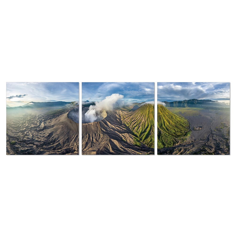 SeniA Gunung Bromo 3-Panel MDF Framed Photography Triptych Print, 48 x 16-inch. Picture 1