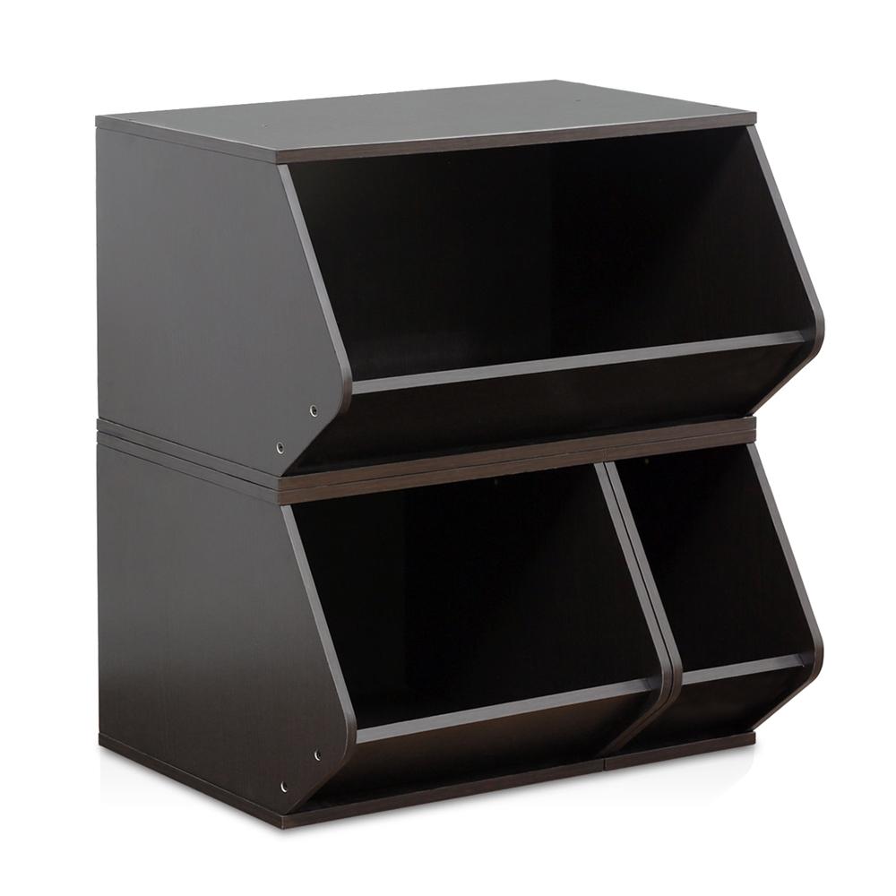 KidKanac Stacking Storage Set 3-in-1 , Espresso. Picture 1