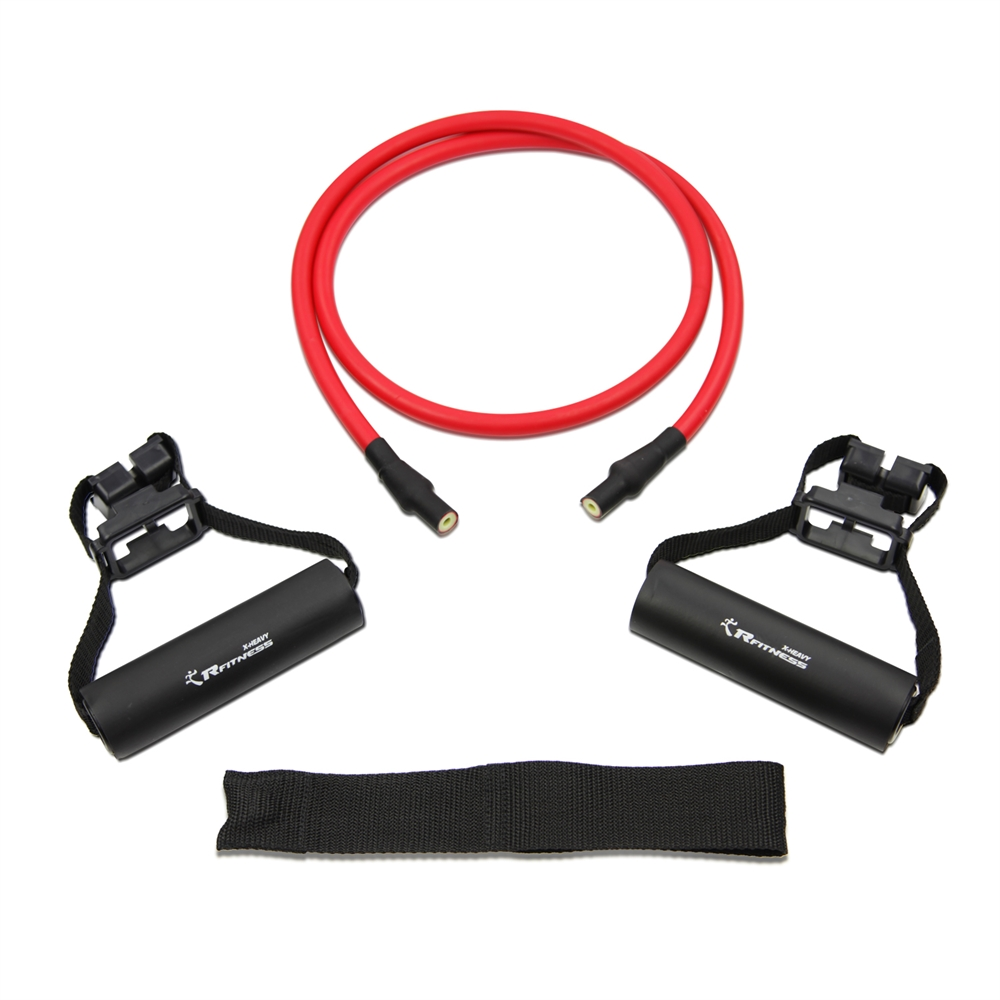 RFitness Professional Stretch Latex Exercise TUBING with Sponge Handle and Door Anchor, X-HEAVY (Red). Picture 2