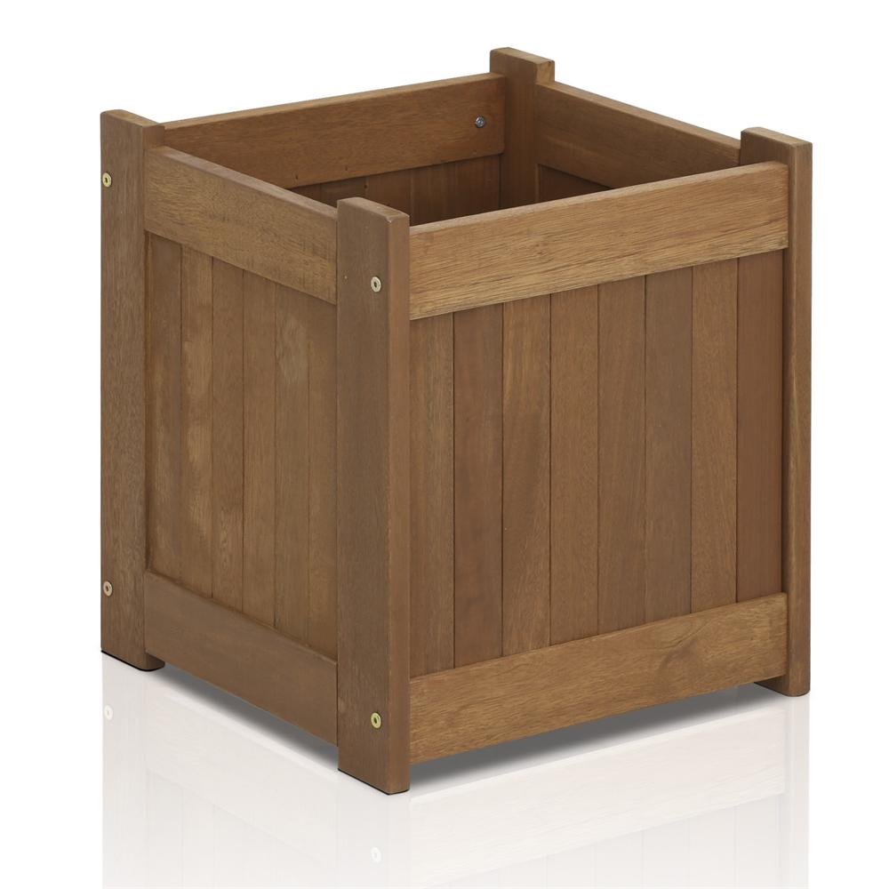 Tioman Hardwood Flower Box in Teak Oil. Picture 1