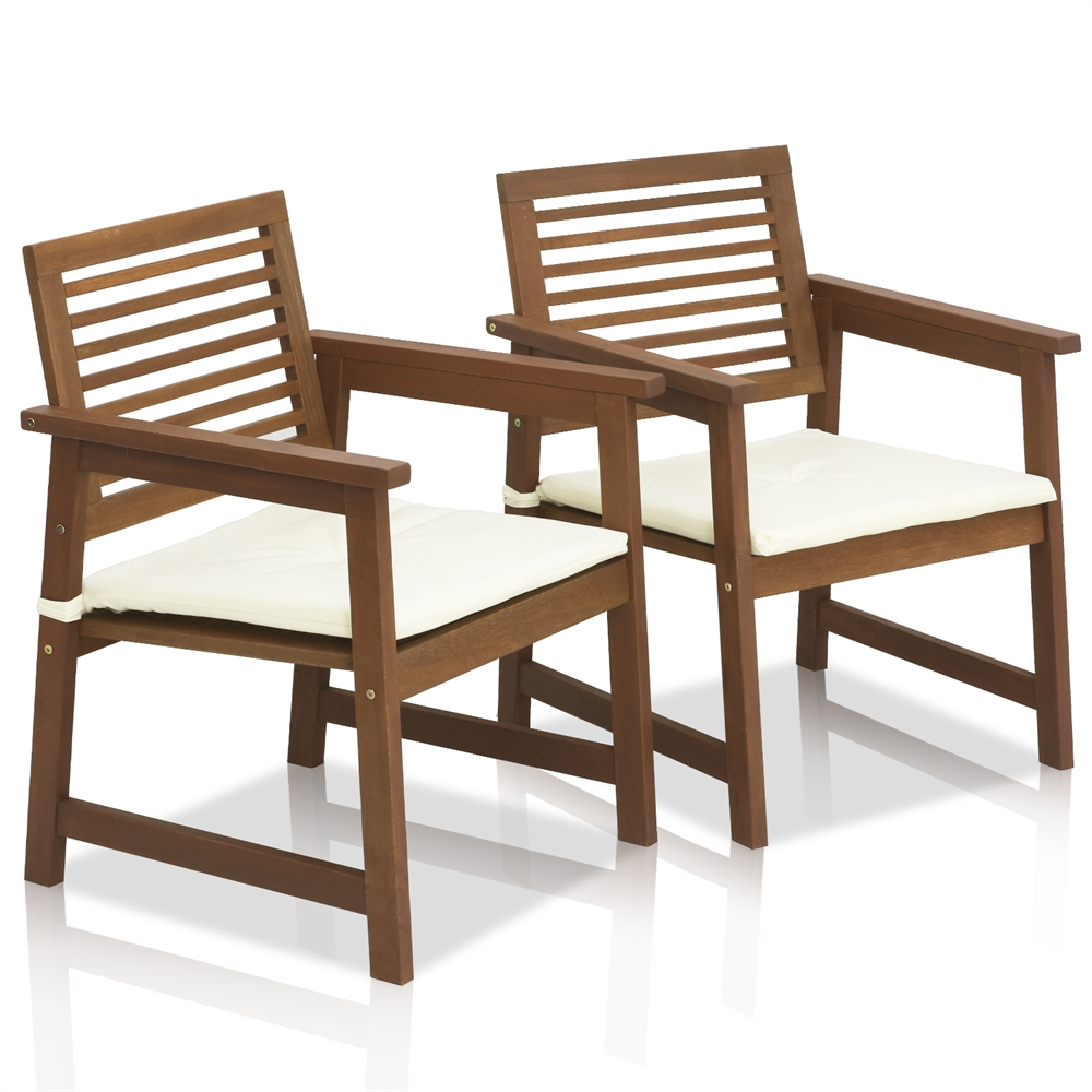 Tioman Teak Hardwood Outdoor Armchair with Cushion, Set of Two. Picture 1