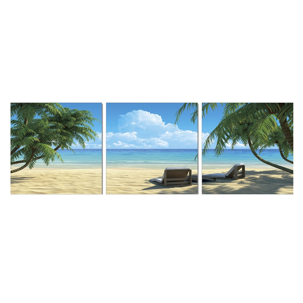 SENIC Coconut Tree and Chair 3-Panel Acrylic Photography, 60 x 20-in. Picture 1