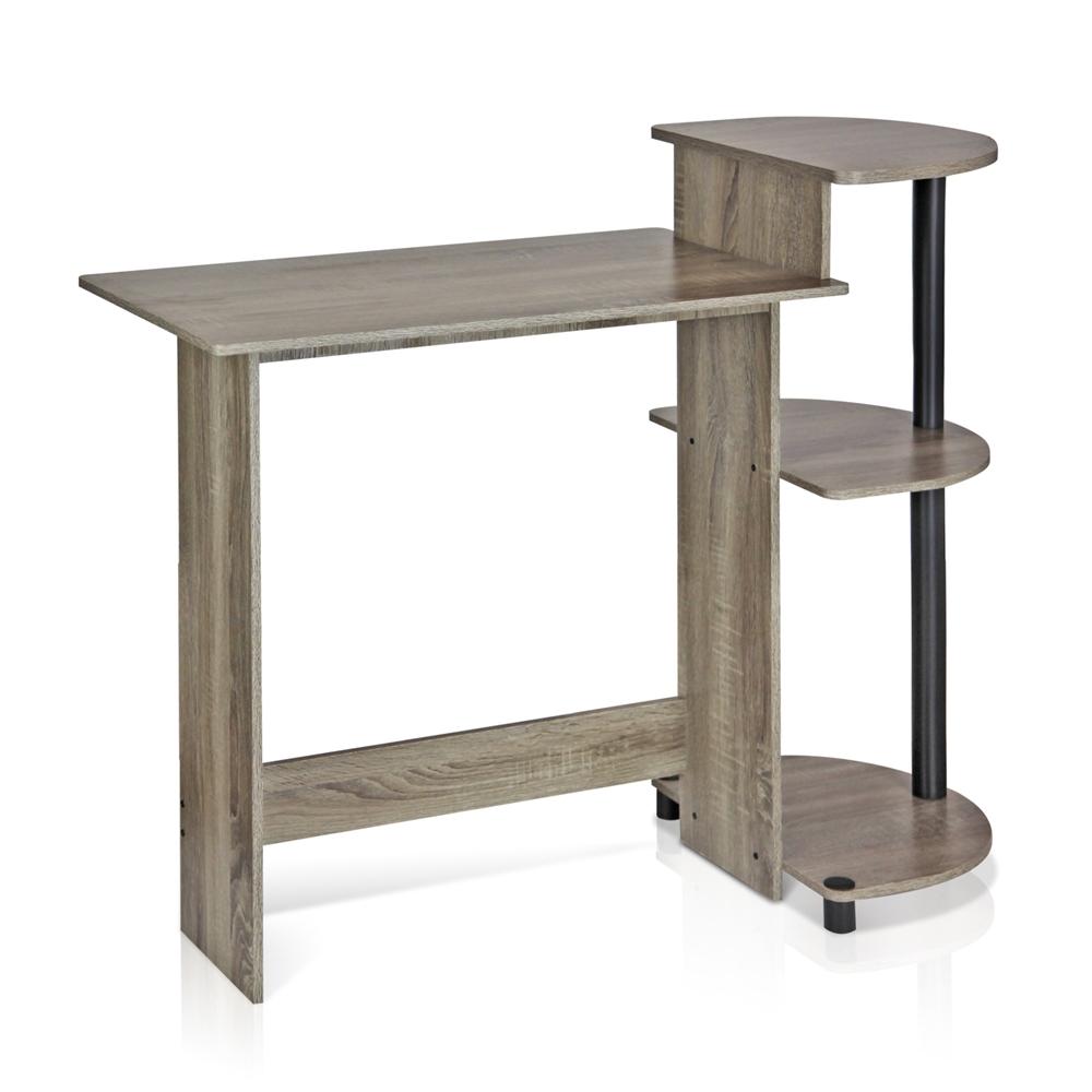 Compact Computer Desk, French Oak Grey/Black. Picture 1