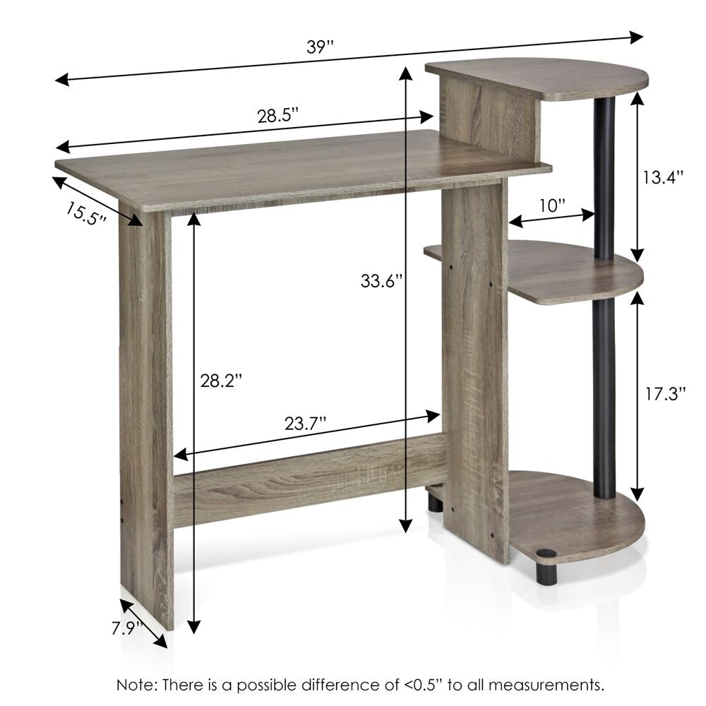 Compact Computer Desk, French Oak Grey/Black. Picture 2