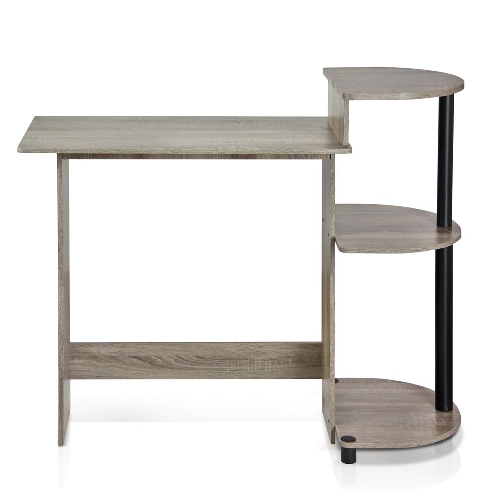 Compact Computer Desk, French Oak Grey/Black. Picture 3