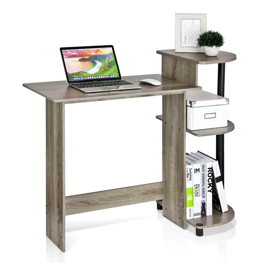 Compact Computer Desk, French Oak Grey/Black. Picture 4