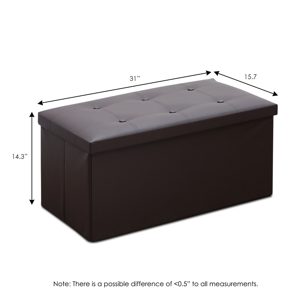 Modern Foldable Faux Leather Storage Bench, Espresso. Picture 2