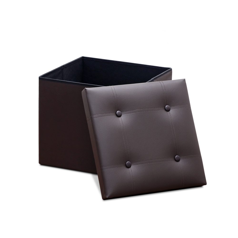 Modern Foldable Faux Leather Square Storage Bench, Espresso. Picture 1