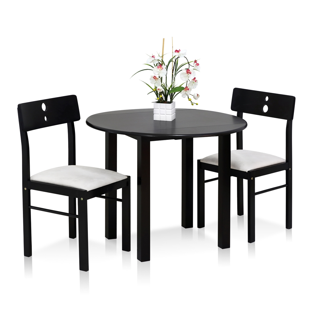 Cos-Drop Leaf 3-PC Solid Wood Dining Set, One Table and Two Chairs, Espresso. Picture 1