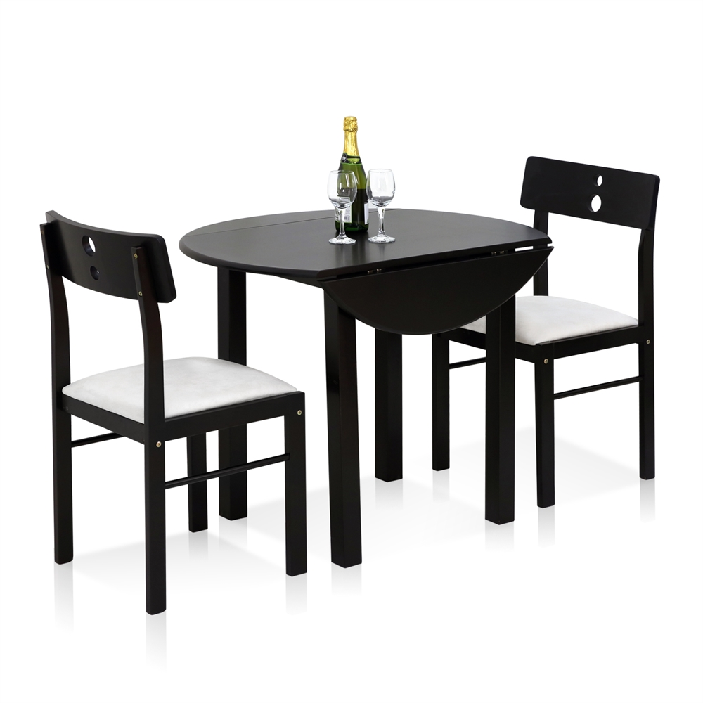 Cos-Drop Leaf 3-PC Solid Wood Dining Set, One Table and Two Chairs, Espresso. Picture 2