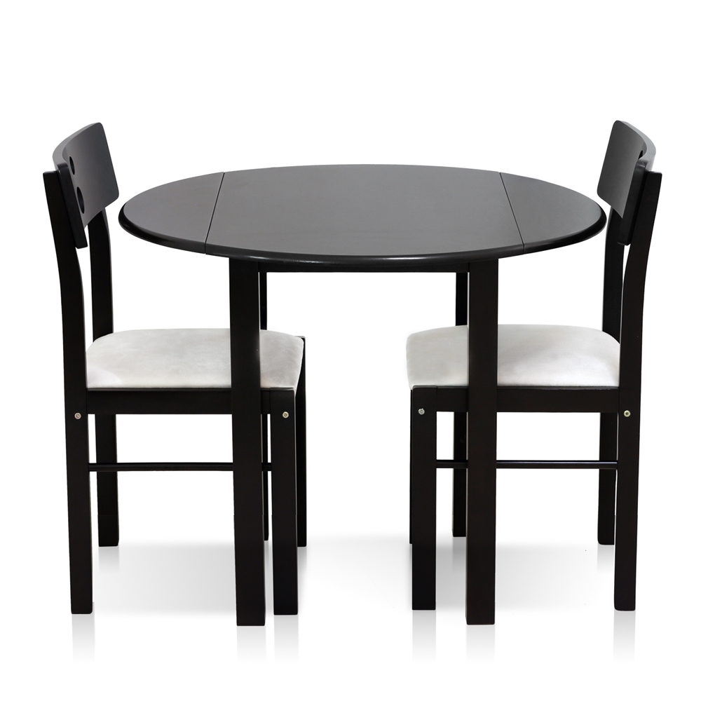 Cos-Drop Leaf 3-PC Solid Wood Dining Set, One Table and Two Chairs, Espresso. Picture 3