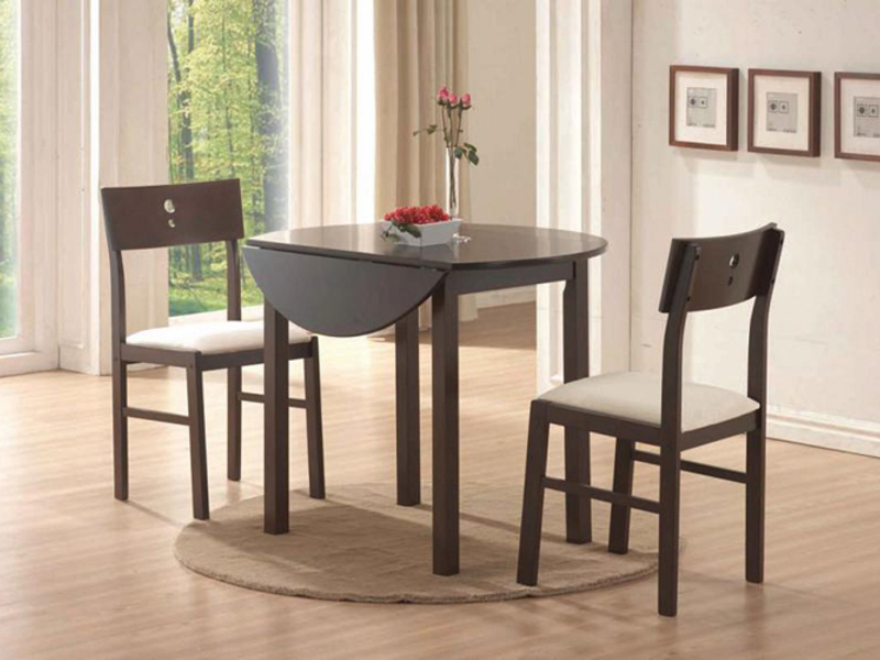 Cos-Drop Leaf 3-PC Solid Wood Dining Set, One Table and Two Chairs, Espresso. Picture 6