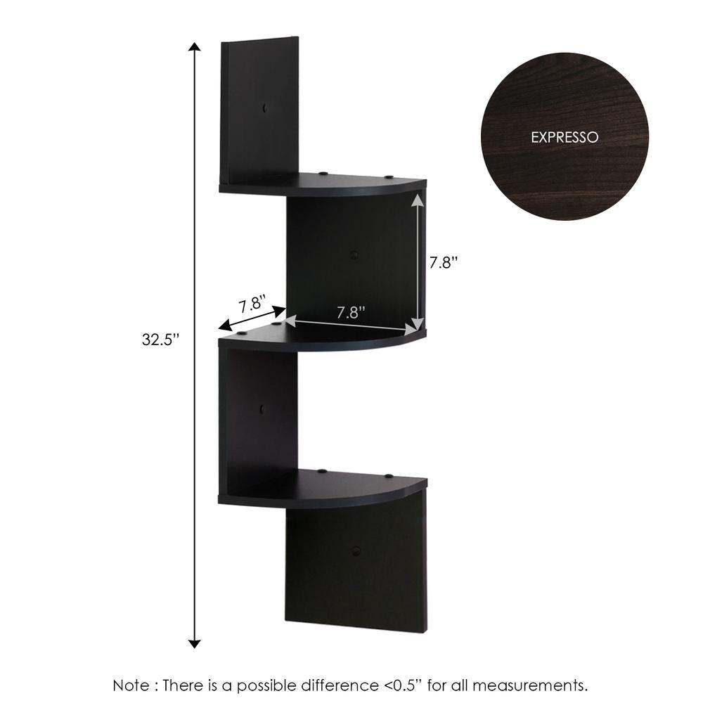 Furinno 3 Tier Wall Mount Floating Corner Radial Shelf, Set of 2, Espresso. Picture 2