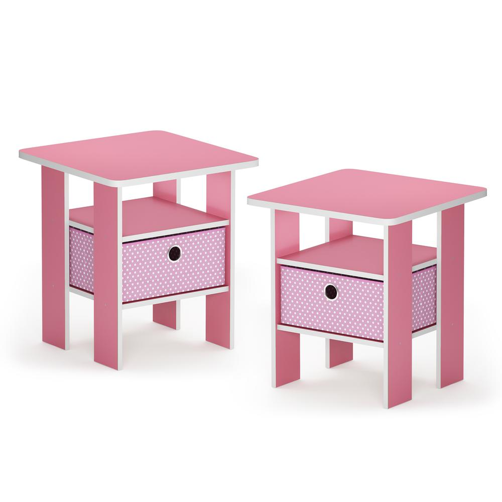 Furinno Andrey End Table Nightstand with Bin Drawer, Pink, Set of 2. Picture 1