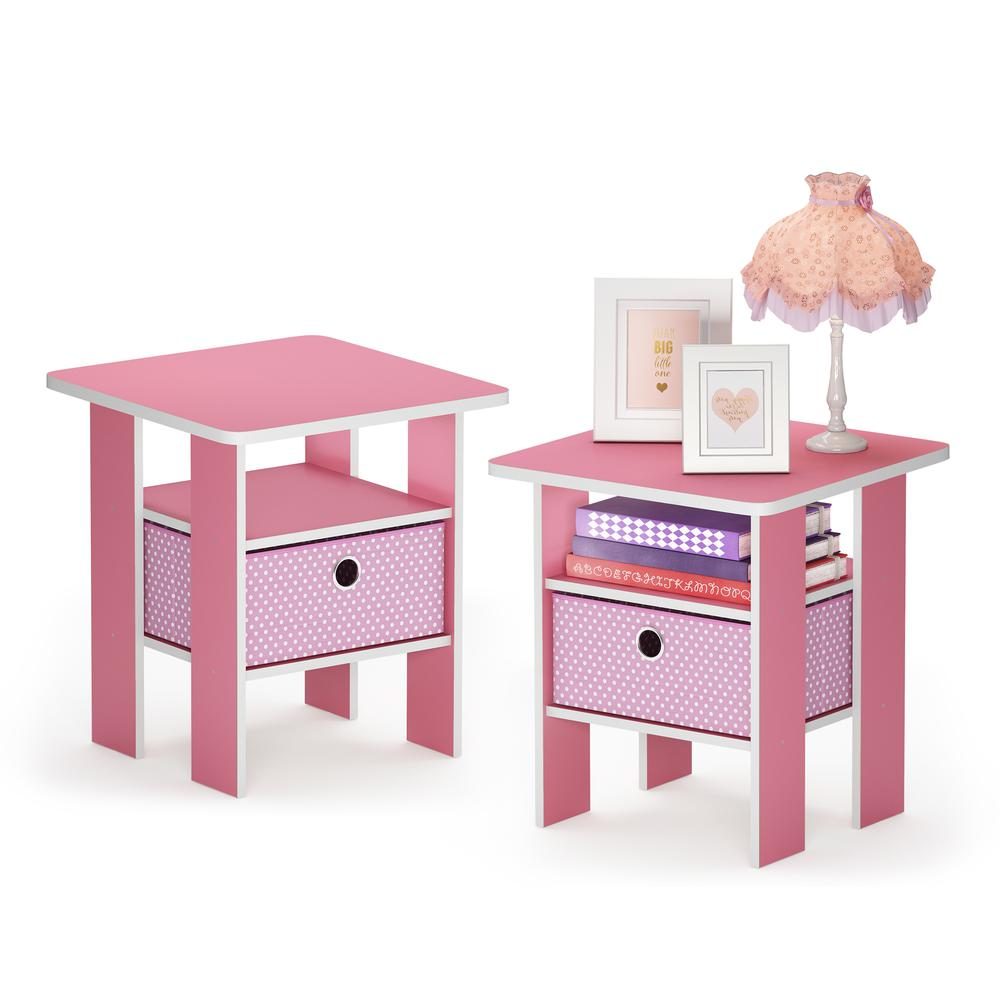 Furinno Andrey End Table Nightstand with Bin Drawer, Pink, Set of 2. Picture 3