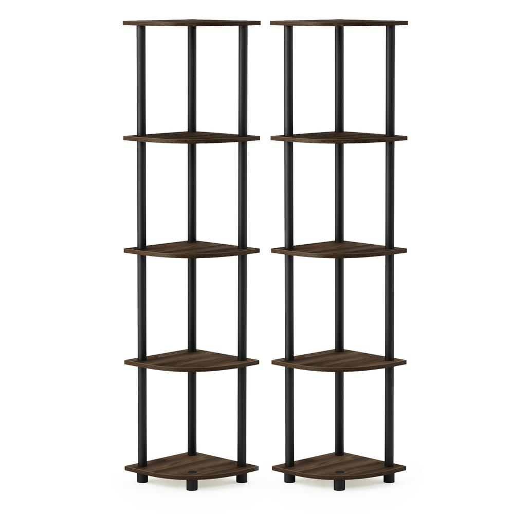 Furinno Turn-N-Tube 5 Tier Corner Display Rack Multipurpose Shelving Unit, Columbia Walnut/Black, Set of 2. Picture 1