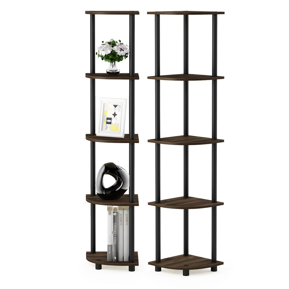 Furinno Turn-N-Tube 5 Tier Corner Display Rack Multipurpose Shelving Unit, Columbia Walnut/Black, Set of 2. Picture 3