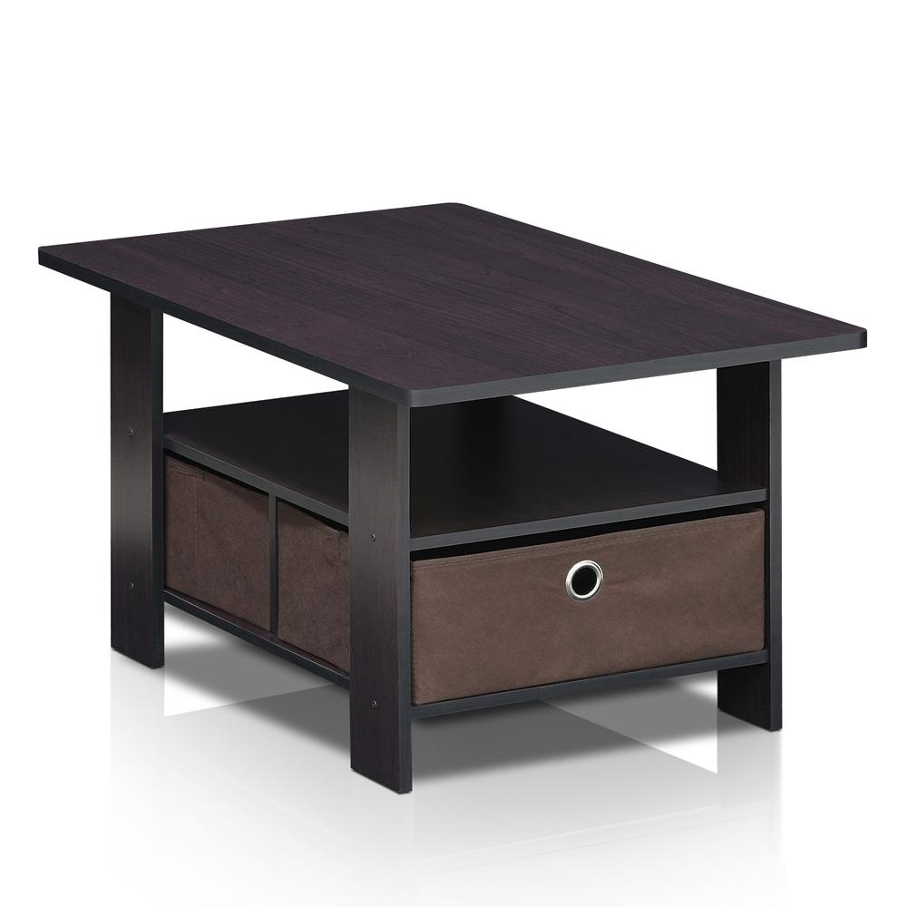 Furinno Andrey Coffee Table with Bin Drawer, Dark Walnut, 11158DWN. Picture 3
