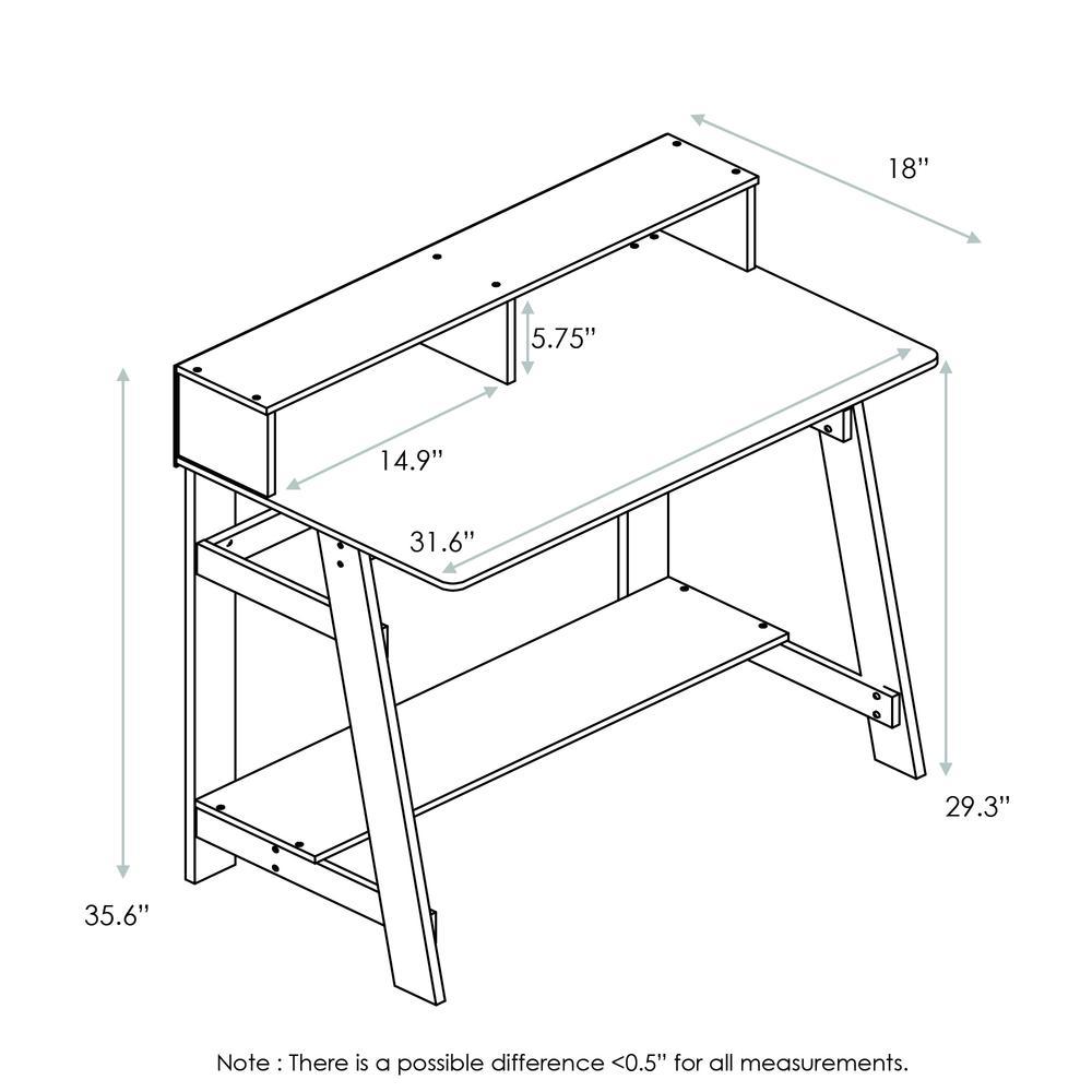 Furinno 14054DWN Simplistic A Frame Computer Desk, Dark Walnut. Picture 2