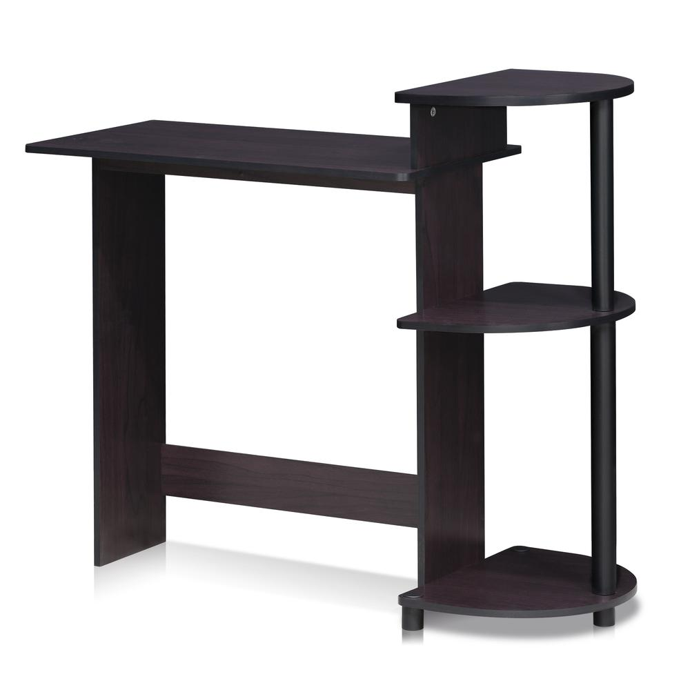 Furinno Compact Computer Desk with Shelves, Dark Walnut, 11181DWN. Picture 1