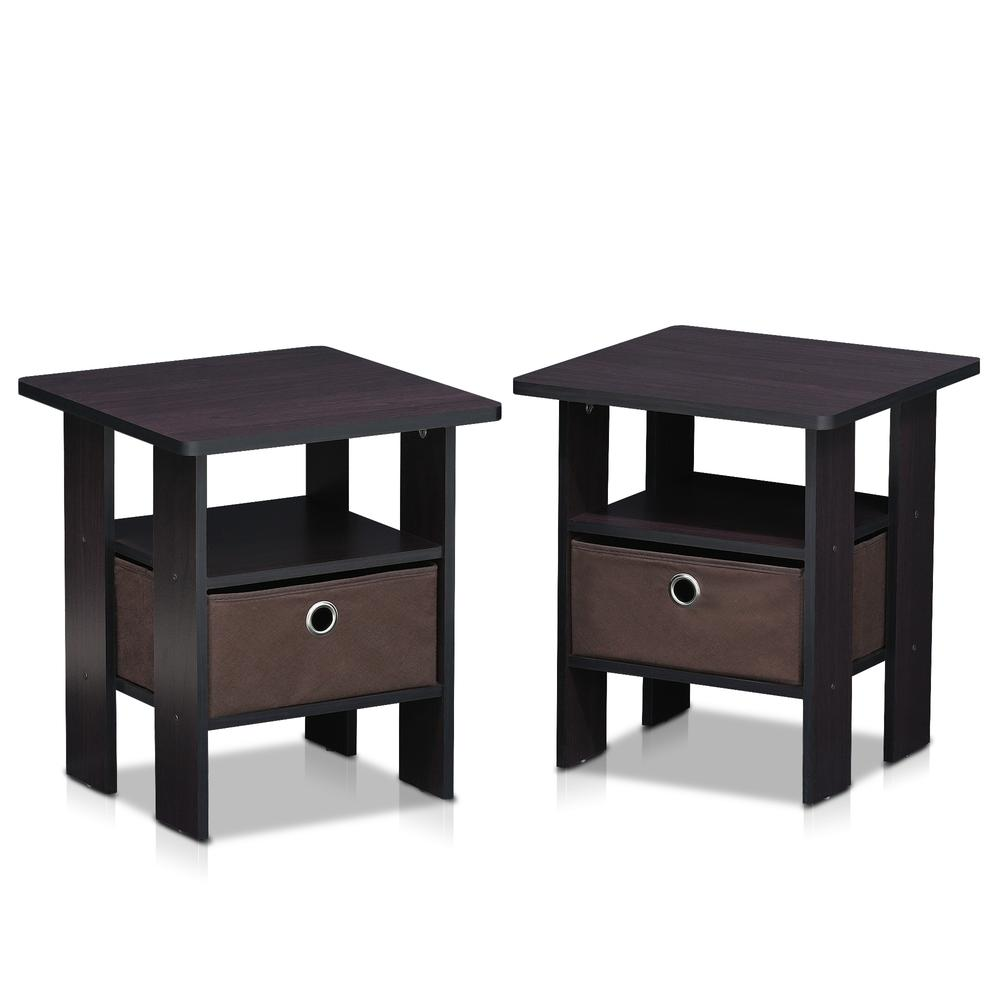 Furinno Andrey End Table Nightstand with Bin Drawer Set of 2, Dark Walnut, 2-11157DWN. Picture 1