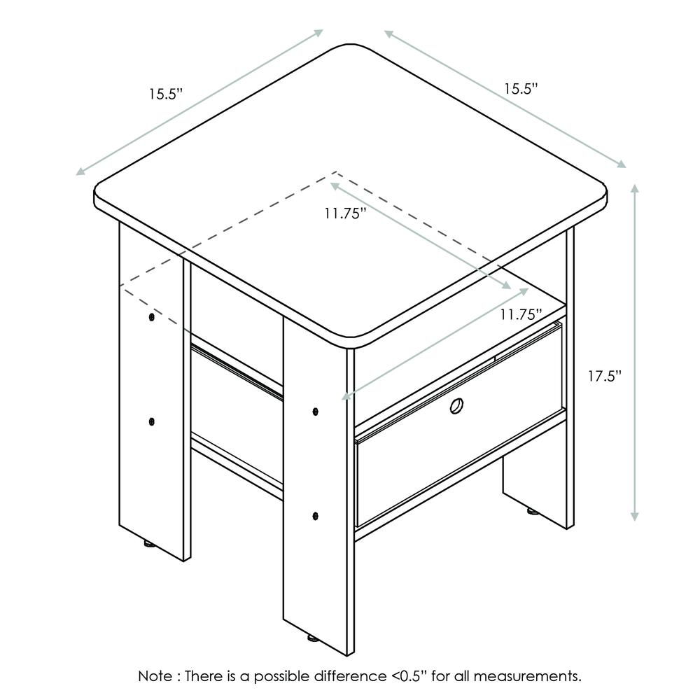 Furinno Andrey End Table Nightstand with Bin Drawer Set of 2, Dark Walnut, 2-11157DWN. Picture 2