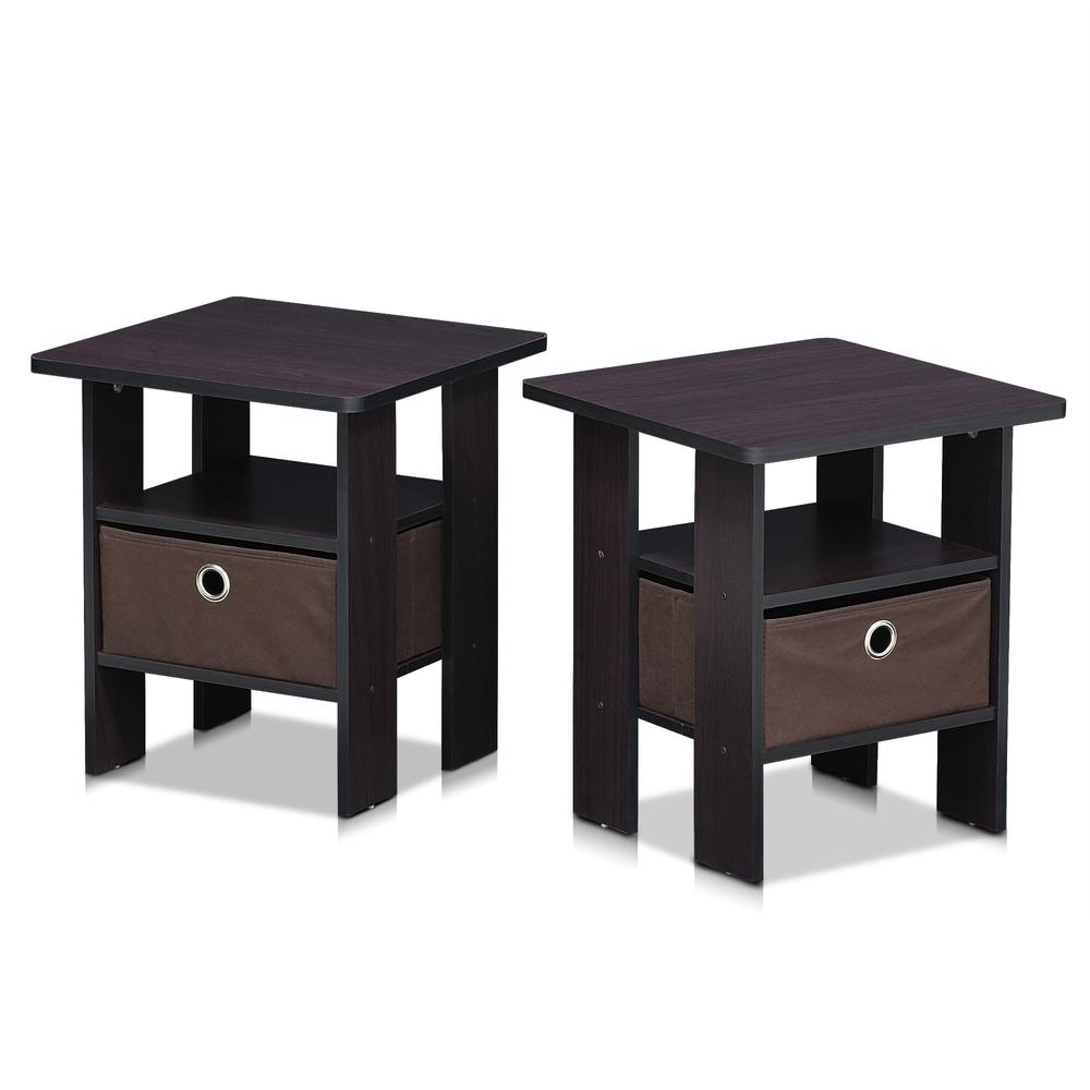 Furinno Andrey End Table Nightstand with Bin Drawer Set of 2, Dark Walnut, 2-11157DWN. Picture 3