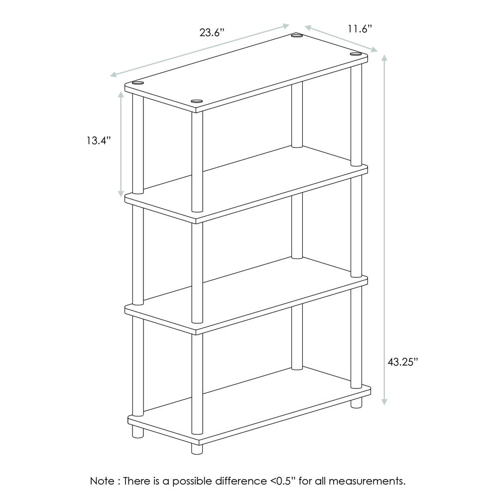 Furinno 99557DWN Turn-N-Tube 4-Tier Multipurpose Shelf Display Rack, Dark Walnut. Picture 2