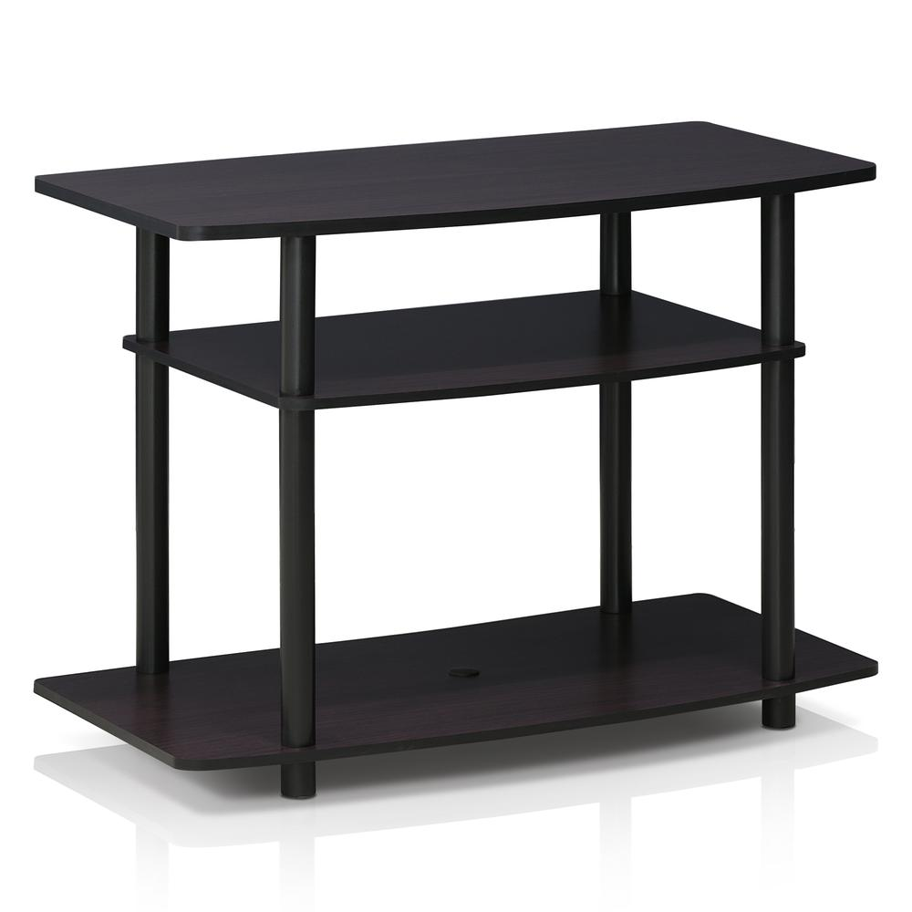 Furinno 13192DWN Turn-N-Tube No Tools 3-Tier TV Stands, Dark Walnut. Picture 1