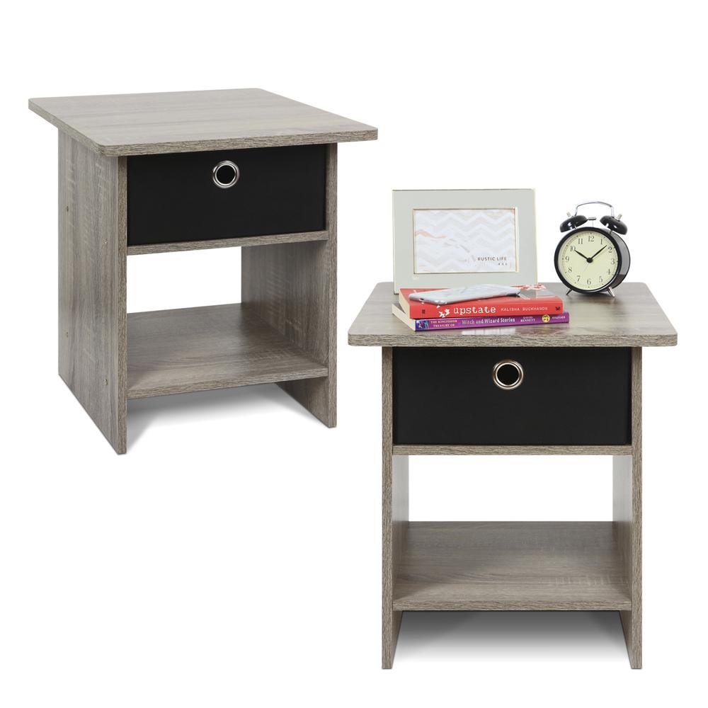 Furinno 2-10004GYW End Table/ Night Stand Storage Shelf with Bin Drawer, French Oak Grey/Black, Set of two. Picture 1