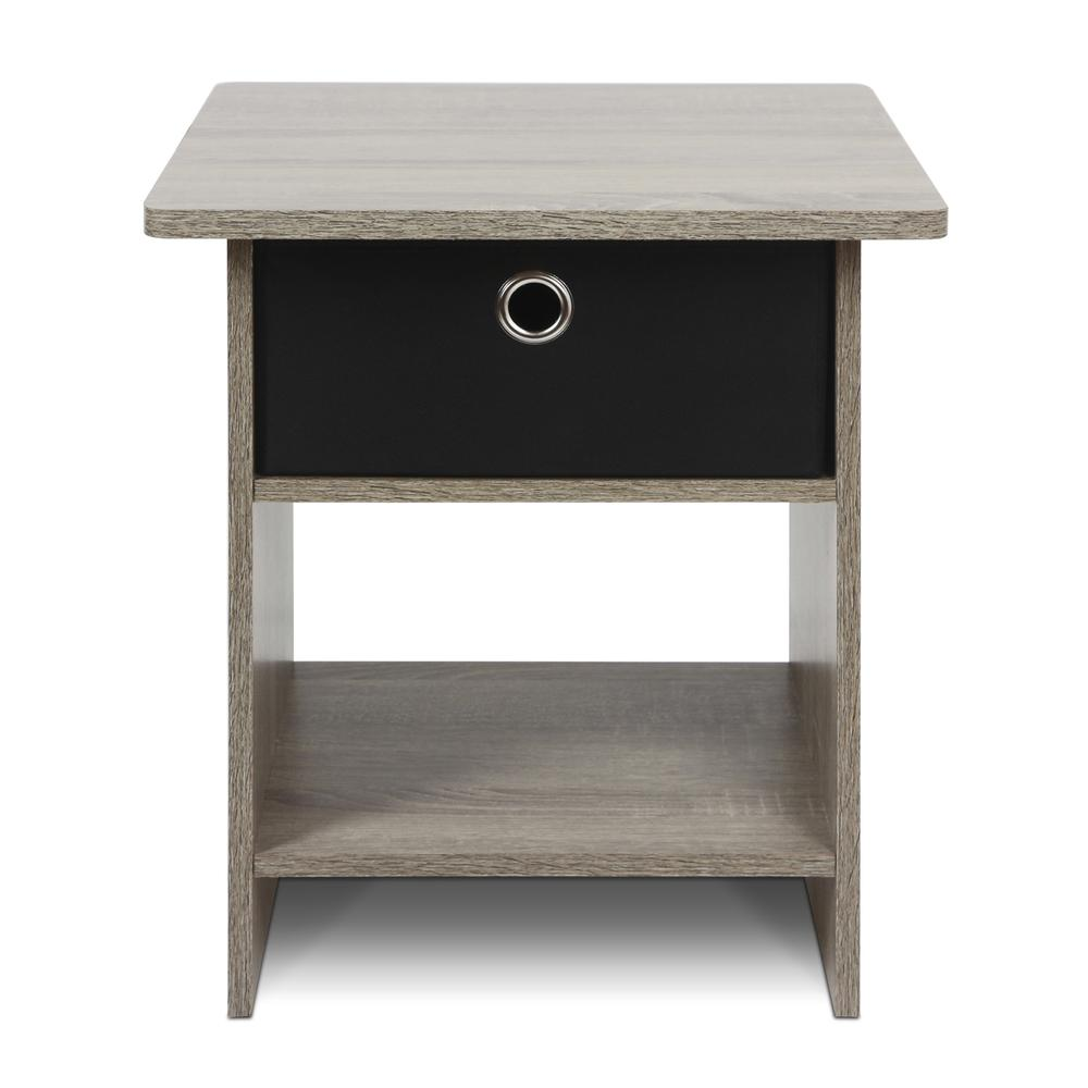 Furinno 2-10004GYW End Table/ Night Stand Storage Shelf with Bin Drawer, French Oak Grey/Black, Set of two. Picture 3